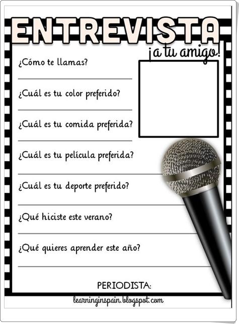 """¡Entrevista a tu amigo!"" (Ficha de Lengua Española de Primaria)"