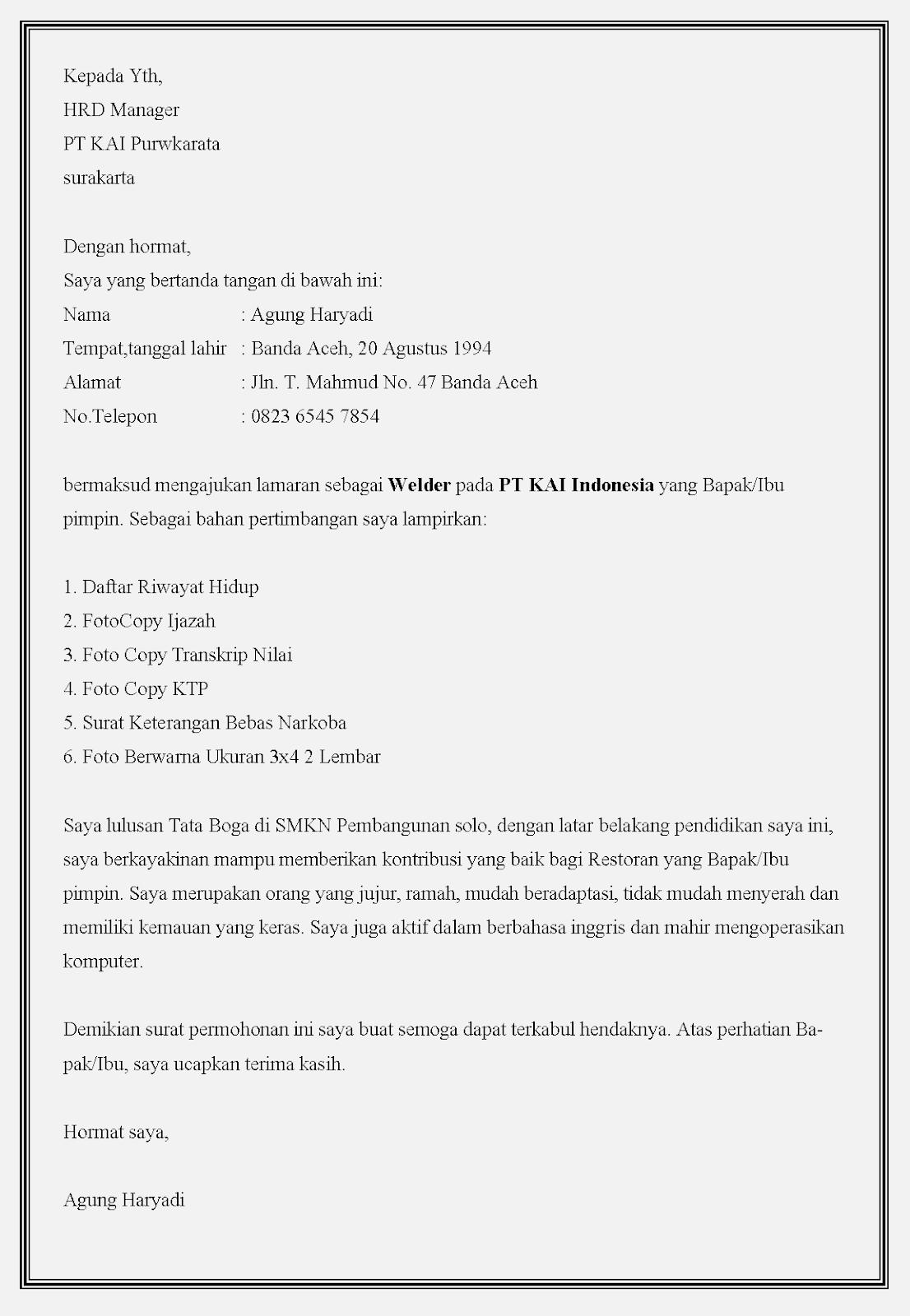 Contoh surat lamaran kerja bumn PT KAI