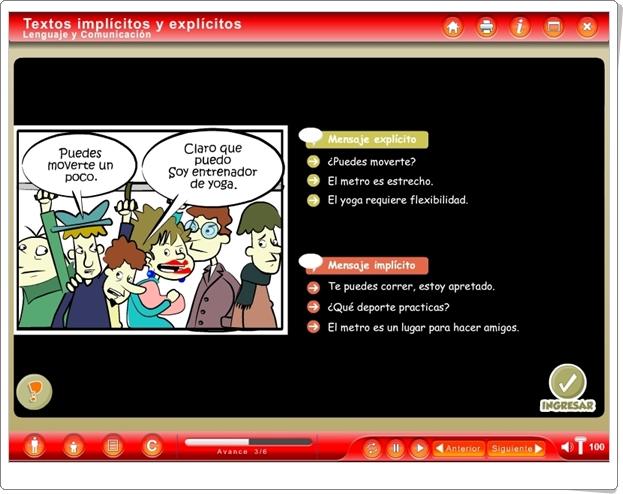 """Textos implícitos y explícitos"" (Aplicación interactiva de Lengua Española de Secundaria)"