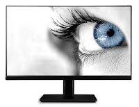 İçinden gözü mavi renk olan bir bayan bakan bir bilgisayar monitörü