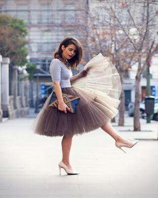 outfit de invierno con falda de tul tumblr