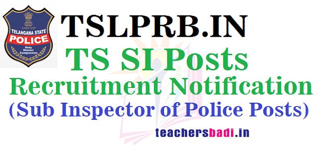 TS SI Posts,TSLPRB, Police Jobs