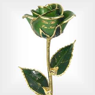Kiss Me I'm Irish Gold Dipped Rose