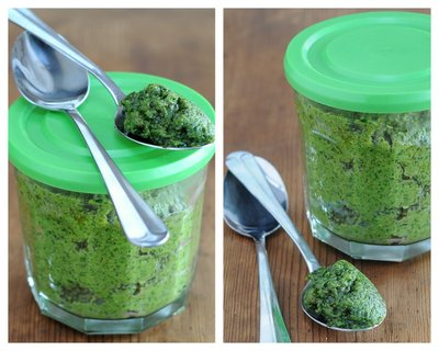 Winter Pesto with Spinach ♥ KitchenParade.com, made with spinach, not basil, when fresh basil is expensive or unavailable.
