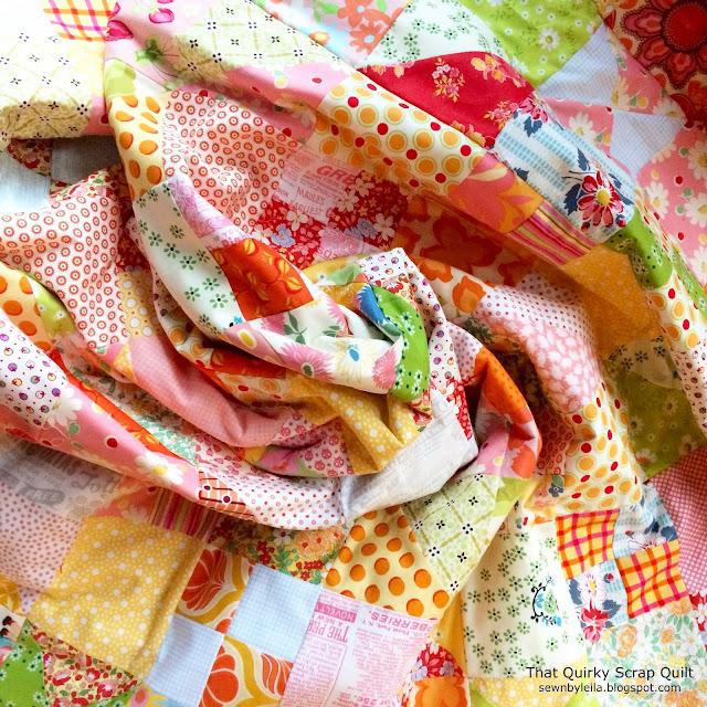 scrap quilt, free quilt pattern, scrap quilt pattern, vintage quilt, pink quilt, yellow quilt, free simple quilt pattern