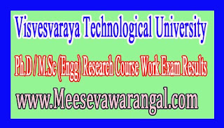 Visvesvaraya Technological University Ph.D / M.Sc (Engg) Research Course Work Exam Results