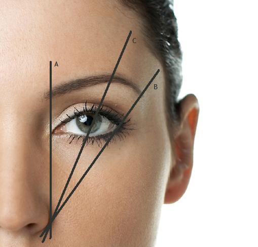 b0d2a0dc3f14 Kezdő rész: egy cerzát vagy ecsetet az orrod mellé tehetsz egyenesen, így  látod, hogy hol kellene a szemöldöknek kezdődnie. A másik oldalon is tedd  ezt meg ...