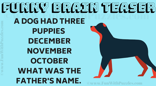 A dog had three puppies  December November October What was the father's name.