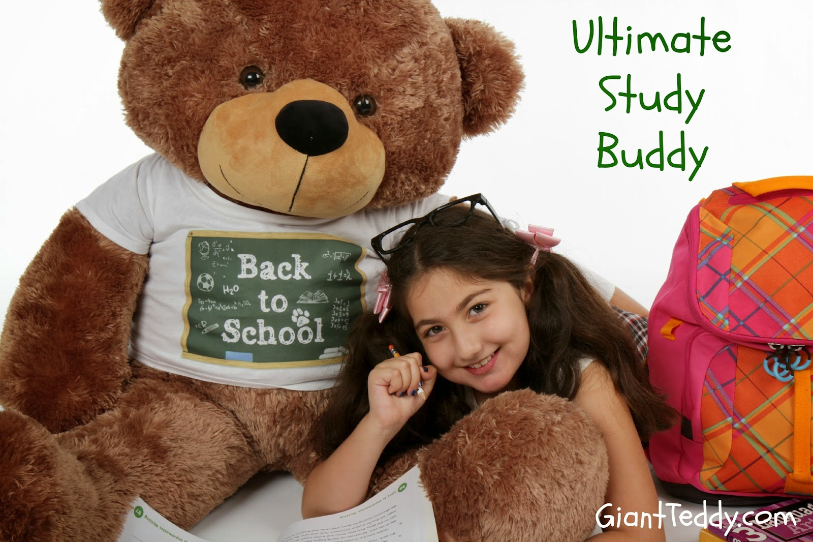 Back-to-School teddy bear 4ft huge Sunny Cuddles with soft mocha fur