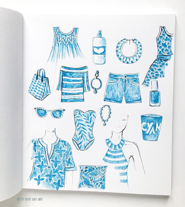 Objets dessinés au stylo bille bleu
