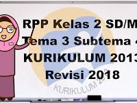 RPP Kelas 2 Tema 3 Tugasku Sehari-hari Subtema 4 K13 Revisi 2018