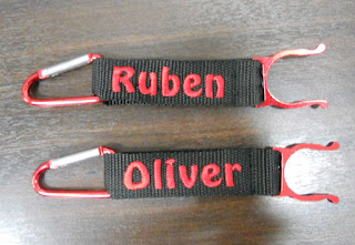 Strap With name embroidery in red