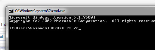 remove format error from pendrive using CMD