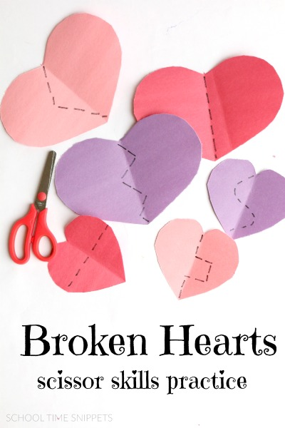Preschool Hearts Fine Motor Scissor Skills Activity