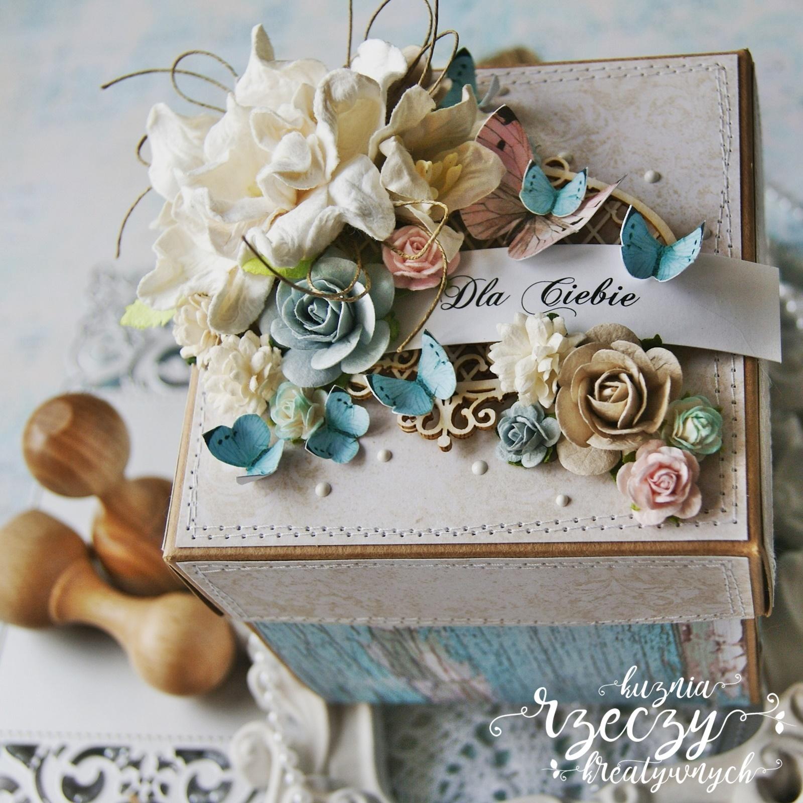 Wyjątkowy i kreatywny exploding box przygotowany z papierów Nie zapomnij mnie (Do Not Forget).