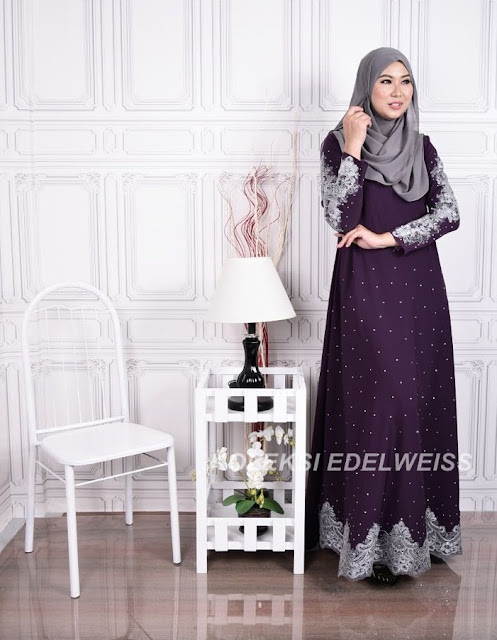 Dress Abaya Glam Warna Purple  Lace Kelabu