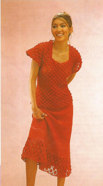 Conjunto de Blusa y Falda a Crochet