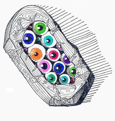Kolorowe oczy w drewnianej gumce