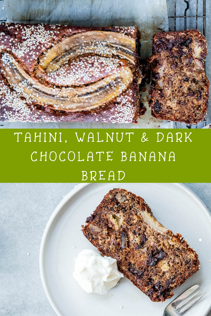 TAHINI, WALNUT & DARK CHOCOLATE BANANA BREAD RECIPE