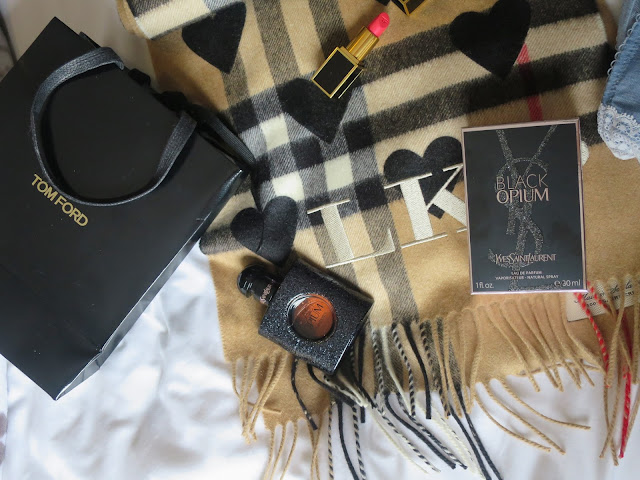 Burberry Cashmere Check and Hearts Scarf with Monogram