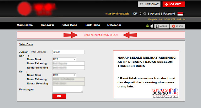 Cara Mengatasi Bank Account Already In Use Pada Situs Domino Online