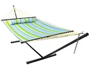 Sunnydaze Blue and Green Quilted Double Fabric Hammock with Spreader Bar, Backyard Hammocks, Best Hammocks For Sale, Camping Hammocks, Hammocks On Sale, Hammocks With Stand, Indoor Hammocks, Portable Hammocks, Rope Hammocks, Stationary Hammocks, Steel Hammocks, Wooden Hammocks,