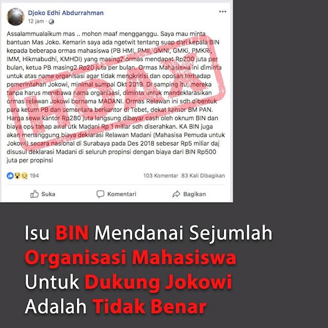 Hoax! BIN Suap Organisasi Mahasiswa untuk Dukung Jokowi