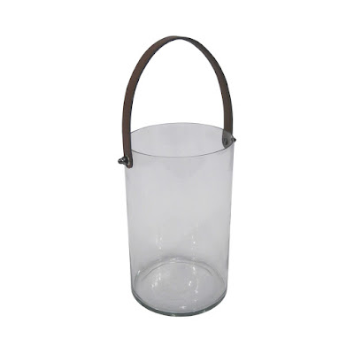 glass candleholder with leather strap
