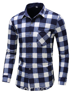 Ericdress Plaid Color Block Lapel Men's Casual Shirt