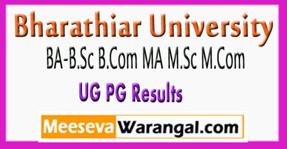Bharathiar University BA B.Sc B.Com MA M.Sc M.Com Results 2017