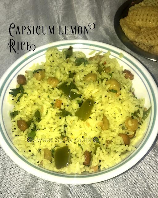 nimbe hannu chithranna, lemon capsicum rice, lemon rice, nimbekkai chithranna , chitranna, limbu baath, limbu bhaat, elimchapazham saadham, elimchai saadham,capsicum lemon rice, chickpeas lemon rice, chickpeas lemon chithranna, how to make lemon rice with capsicum