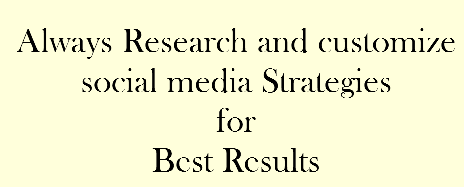 Text Image: Always research and customize social media strategies