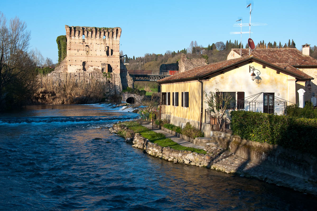 The river Mincio with the Scaligeri bridge, Borghetto, Veneto, Italy