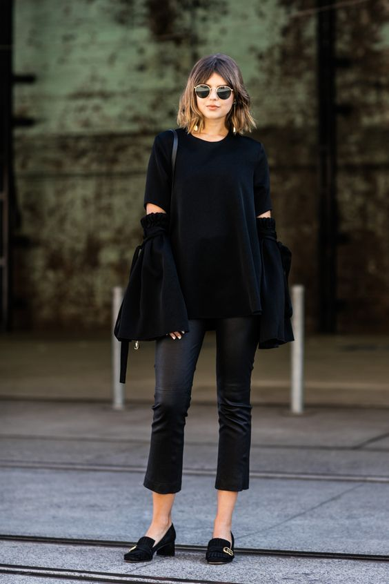 Milan Fashion Week Street Style All Black Bell Sleeves Gucci Loafers