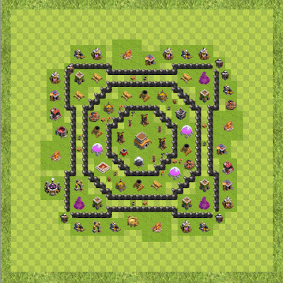 War Base Town Hall Level 8 By Annelyn Quilla (coc base TH 8 Layout)