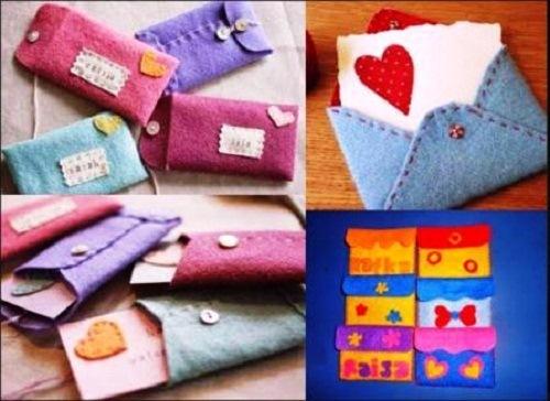 Kerajinan amplop surat dari kain flanel