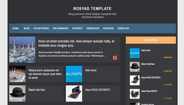 RBZ Semi Dark Responsive Blogger Templates