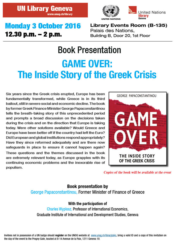 Story of the Greek Crisis, invitation at the UN Geneva