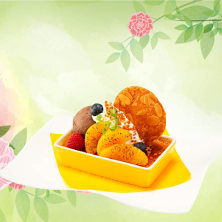 オレンジキャラメルの クレームブリュレ チョコレートアイス添え(2019春)