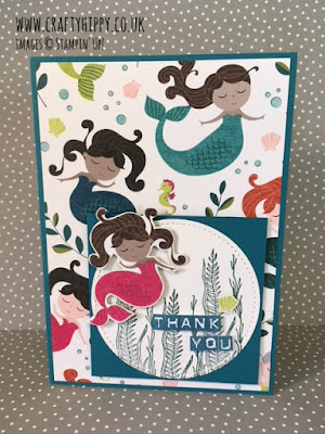 How to make a fun mermaid card. Fussy cut the mermaids from the Myths & Magic Specialty Designer Series Paper by Stampin' Up!