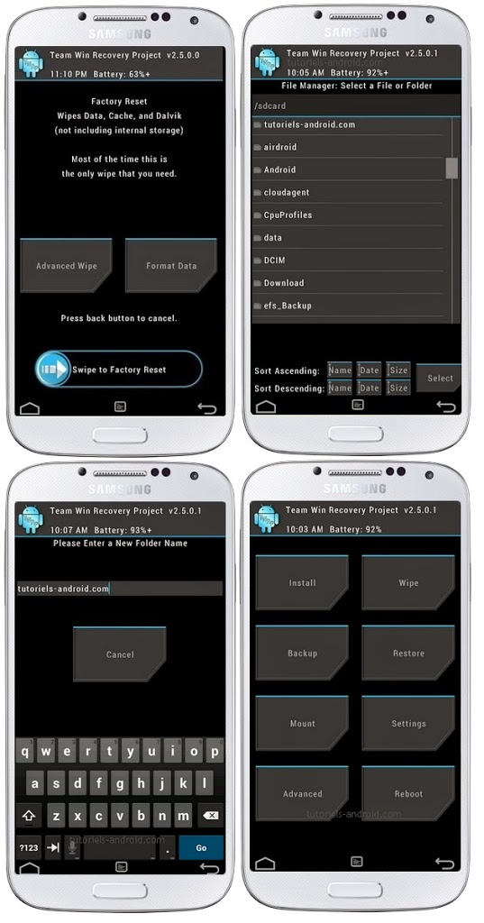 Captures d'écran : TWRP pour GALAXY S4