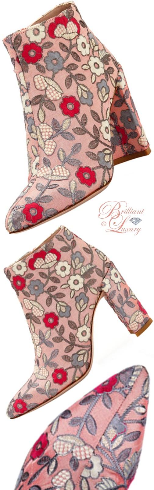 Brilliant Luxury ♦ Stuart Weitzman embroidered bootie