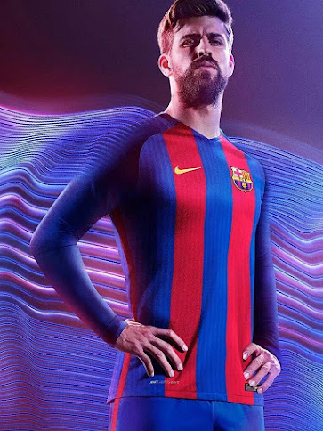 104a1aa8481 Blue shorts and socks with red detailing complete the traditional overall  look of the Nike FC Barcelona 2016-17 home kit