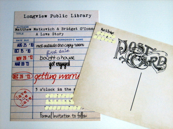 unique save the dates: Wedding Save The Date Card Idea: Library Cards | DIY Playbook