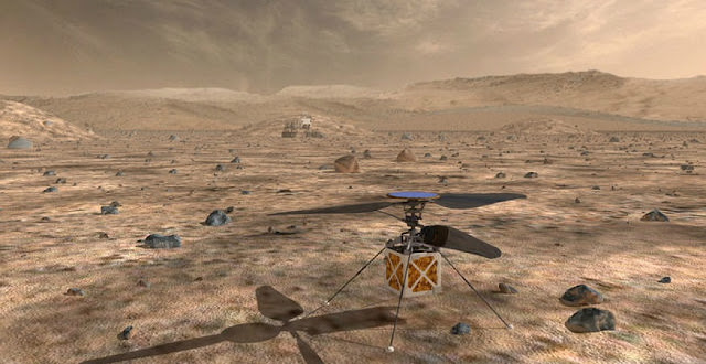 The Mars Helicopter, a small, autonomous rotorcraft, will travel with NASA's Mars 2020 rover, currently scheduled to launch in July 2020, to demonstrate the viability and potential of heavier-than-air vehicles on the Red Planet. Image credit: NASA/JPL-Caltech