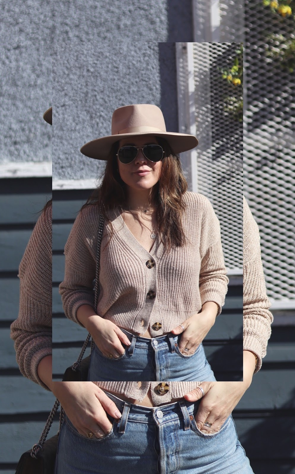 button front sweater lack of color rancher hat levis wedgie jeans vancouver fashion blogger aleesha harris