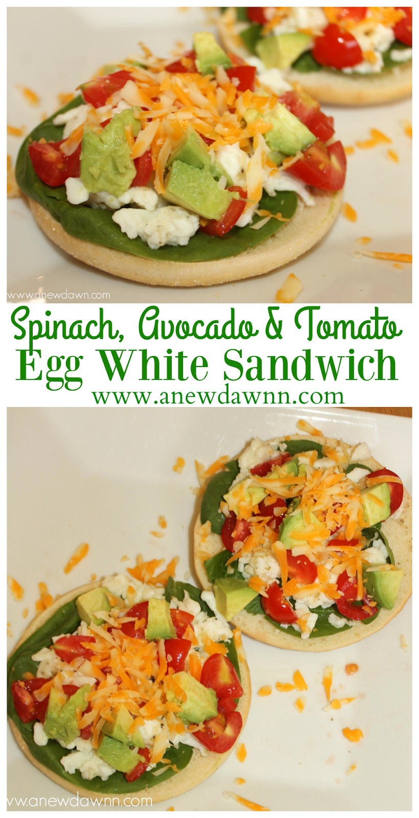 Spinach Avocado Tomato Egg White Sandwich