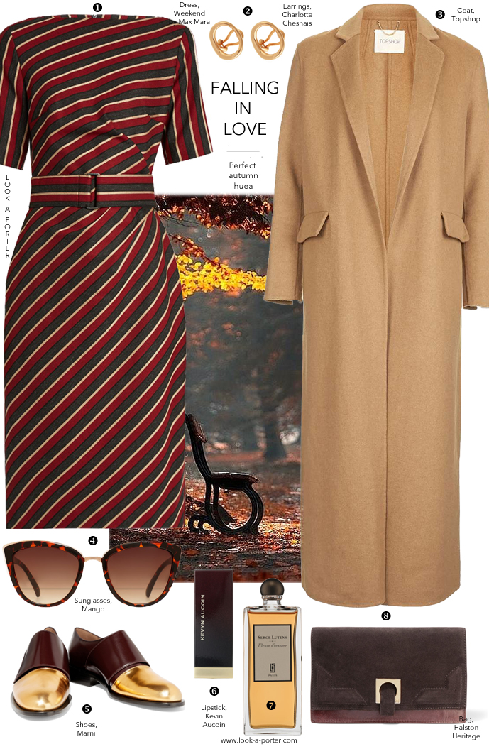 Autumn outfit inspiration and ideas for fall. Styling burgundy, camel, brogues, Max Mara, Topshop, Marni, Charlotte Chesnais for look-a-porter.com style & fashion blog
