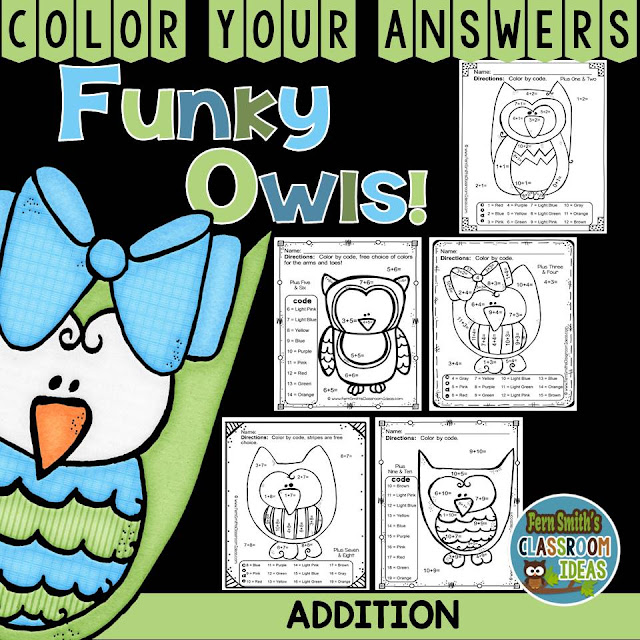 Fern Smith's Classroom Ideas FUNKY Owls Addition Facts - Color Your Answers Printables at TeacherspayTeahcers.