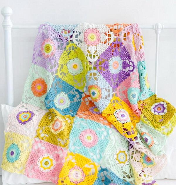 Crochet rustic square motif, Lace throw